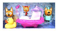 Игровой набор YM015 Три кота,ванна, герои(брызг.водой)