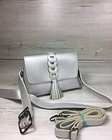29642dd8a59c Женская сумка на пояс- клатч Белла серебряного цвета с плетением и кисточкой