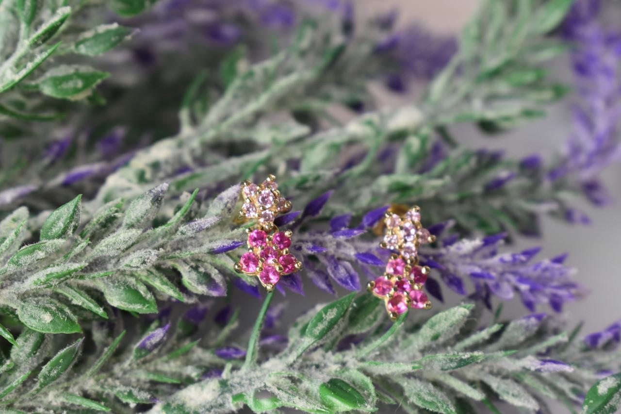 Серебряные серьги-гвоздики с камнями Шпинель *Pink Flowers*
