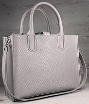 78-2 Натуральная кожа Женская сумка пастельно-лиловая формат А4 Женская сумка кожаная сиреневая натуральная, фото 2