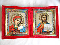 Две иконы на красном бархате 13,5 на 15см