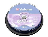 Диски VERBATIM DVD+R 4,7Gb 16x Cake 10 pcs