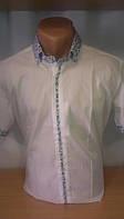 Мужская рубашка FGC приталенная спортивная с коротким рукавом цветным воротником и рукавами