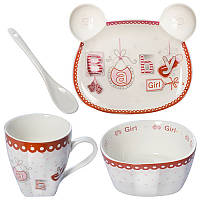Набор детской керамической посуды Baby Girl 2, B26693