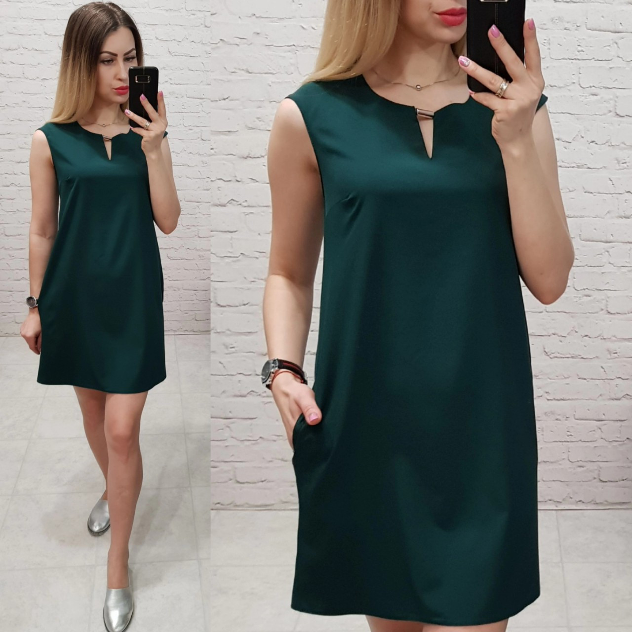 Платье (747/1)зеленое бутылочное / темно зеленый /  темно-зеленого цвета