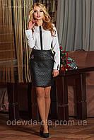 Стильная юбка с тисненной кожи и завышенной талией, фото 1