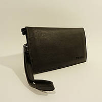 Мужской кожаный клатч, портмоне Prada черный, расцветки в наличии