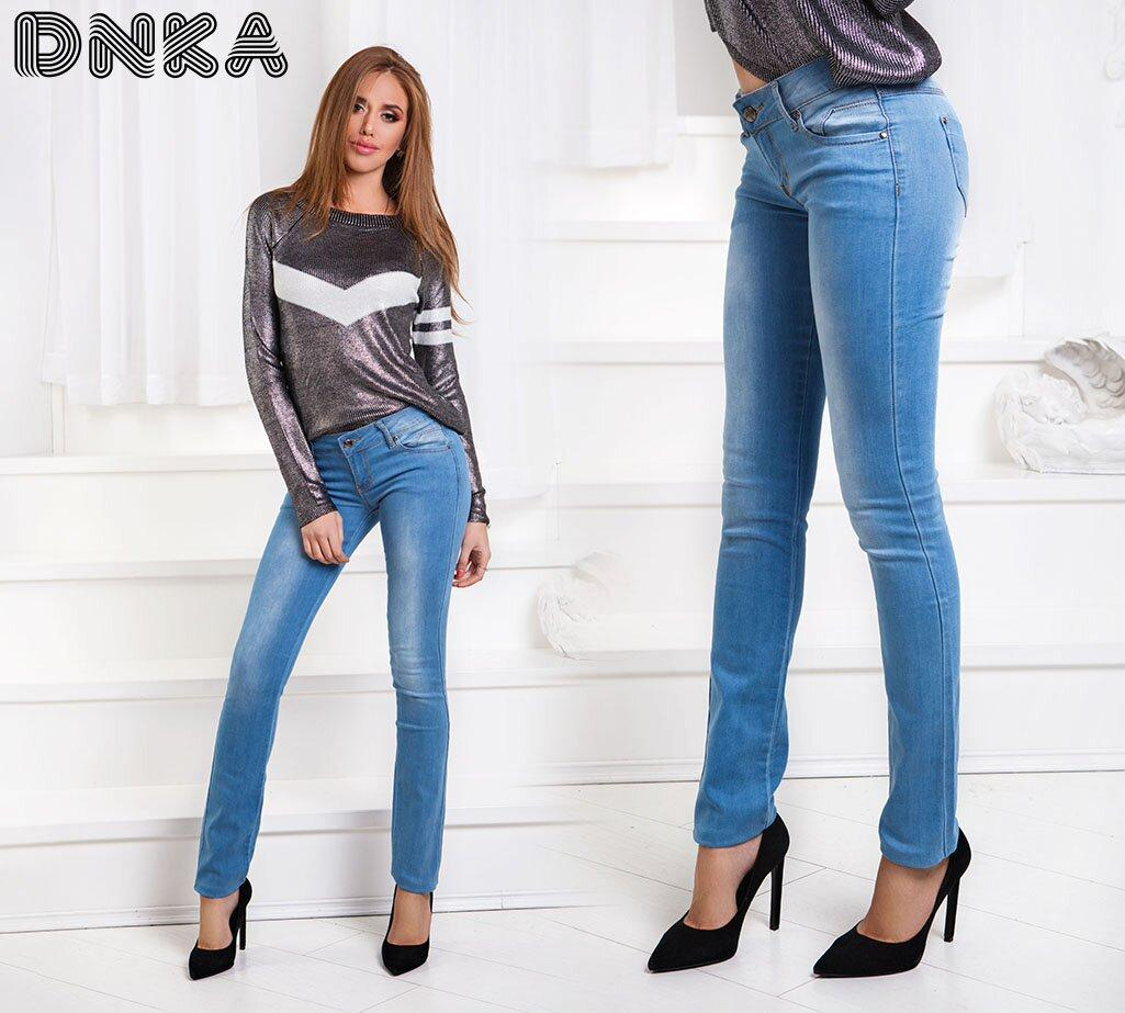 Стрейчевые джинсы с карманами