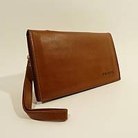 Мужской кожаный клатч, портмоне Prada светло-коричневый, расцветки в наличии, фото 1