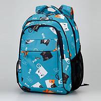 """Рюкзак школьный ортопедический голубой для девочки 1-4 класса Dolly 538 принт """"Котята"""" 30х39х21см"""