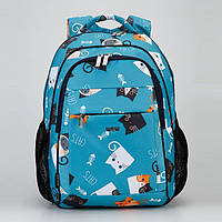 """Школьный рюкзак ортопедический девочке Dolly 538 принт """"Котята"""" голубой"""