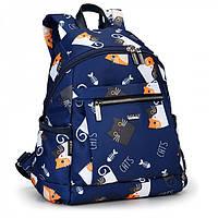 Рюкзак женский маленький тканевый синий в Котятах Dolly 386 один отдел 25х35х15см