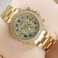 Женские механические наручные часы Rolex Full Diamond, Gold, фото 1
