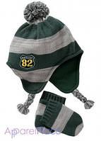 OldNavy Шапка и рукавички в зеленую полоску