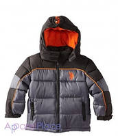 U.S.Polo Assn Куртка серая на оранжевом флисе