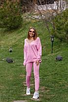 Костюм женский вязаный штаны и кофта с вырезом OG, фото 3