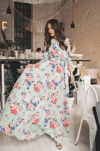 """Длинное приталенное платье в цветочек """"Tess"""" с расклешенной юбкой (3 цвета)"""