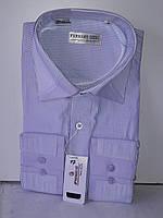 Рубашка мужская Ferrero Gizzi vd-0017 сиреневая в полоску комбинированная классическая с длинным рукавом