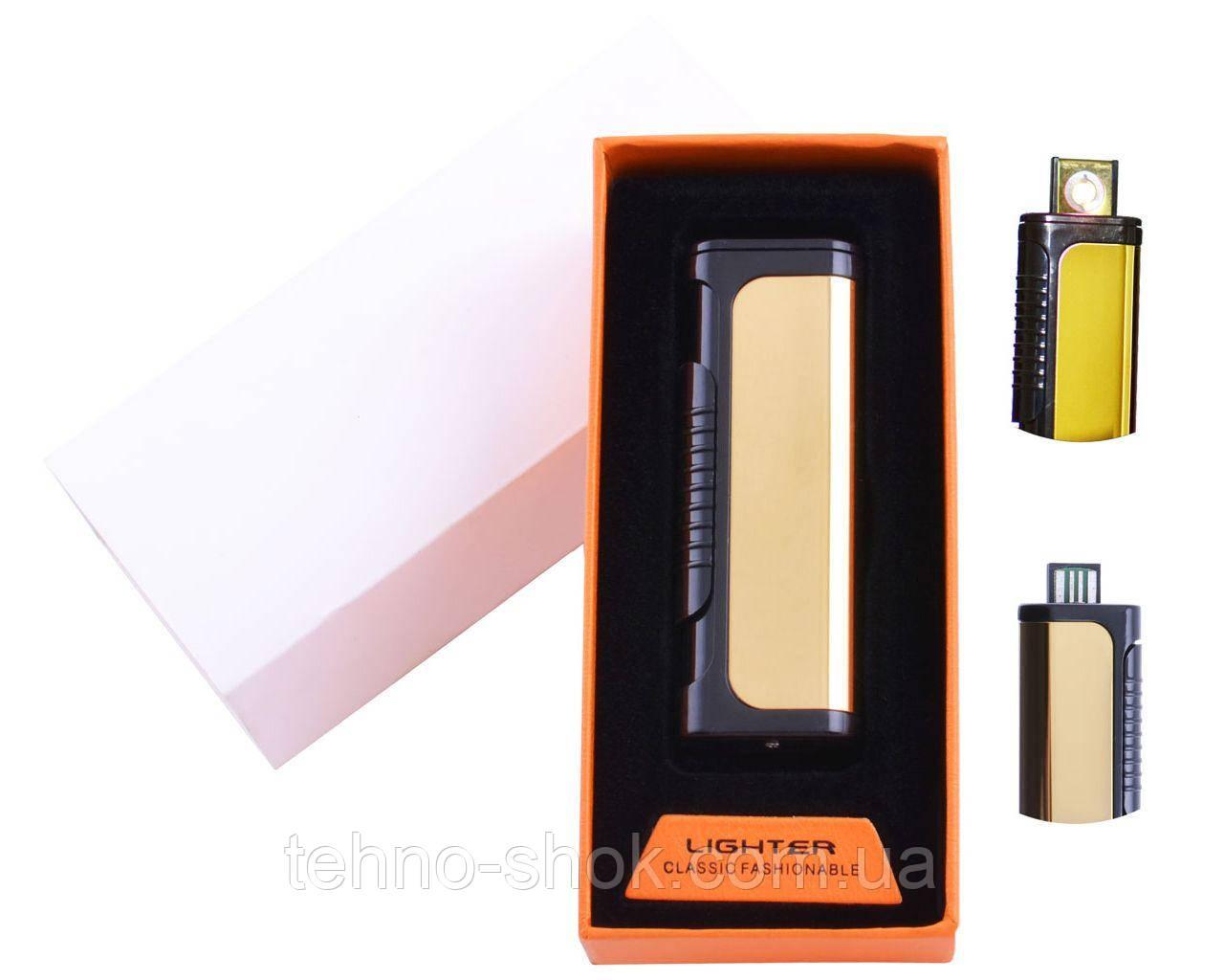 USB зажигалка в подарочной упаковке Lighter (Спираль накаливания) HL-35 Gold