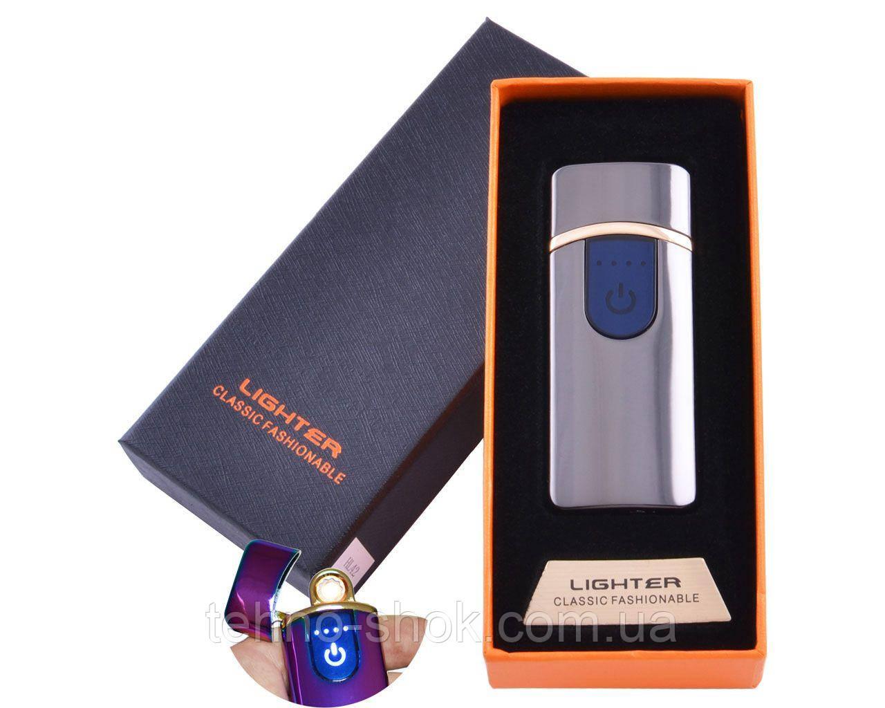 USB зажигалка в подарочной упаковке Lighter (Спираль накаливания) HL-42 Black