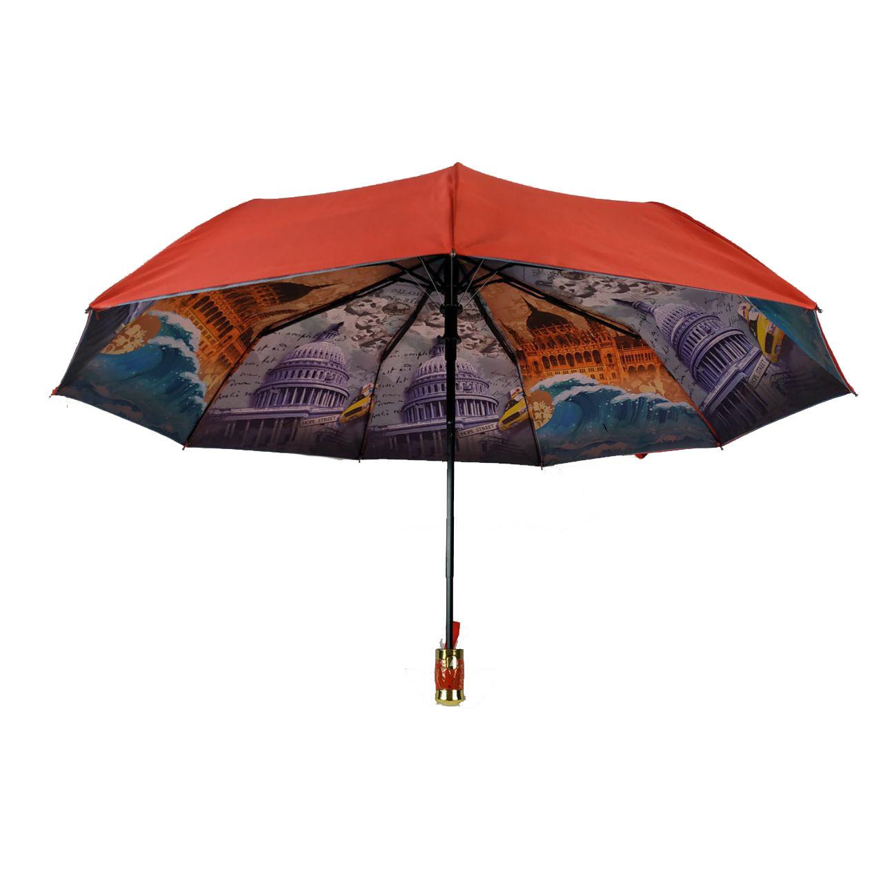 Женский зонт полуавтомат с двойной тканью Bellissimo, красный, 18301-4
