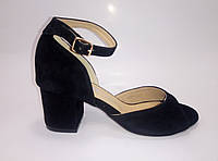 Замшевые женские босоножки с обтяжным каблуком ТМ Ross, фото 1