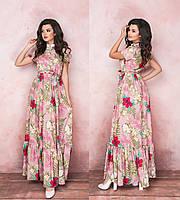 Женское длинное летнее платье с коротким рукавом.Размеры:42-46.+Цвета