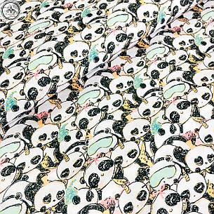 """Польская хлопковая ткань """"Панды-единороги с масками для сна (глиттер)"""", фото 2"""