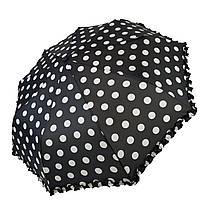 """Женский зонт Max, """"Komfort"""" в горошек с рюшами, черный цвет, 426-5, фото 1"""
