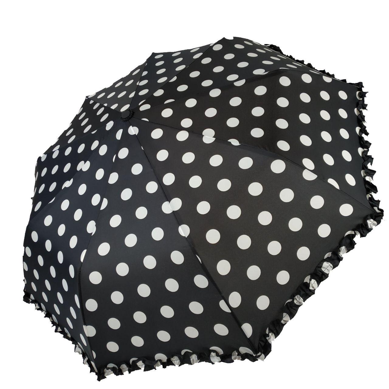 """Женский зонт Max, """"Komfort"""" в горошек с рюшами, черный цвет, 426-5"""