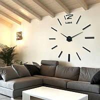 3D настенные часы, бескаркасные часы, часы наклейка черные 90-120см