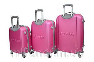 Чемодан Bonro Smile набор 3 шт. розовый, фото 2