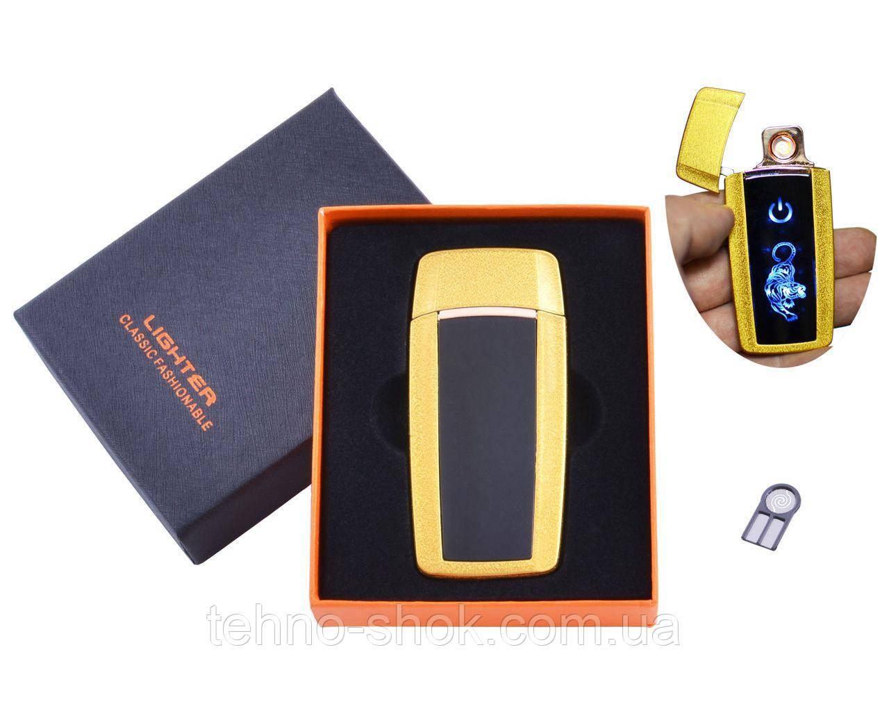 USB зажигалка в подарочной упаковке Тигр (Спираль накаливания) HL-55 Gold