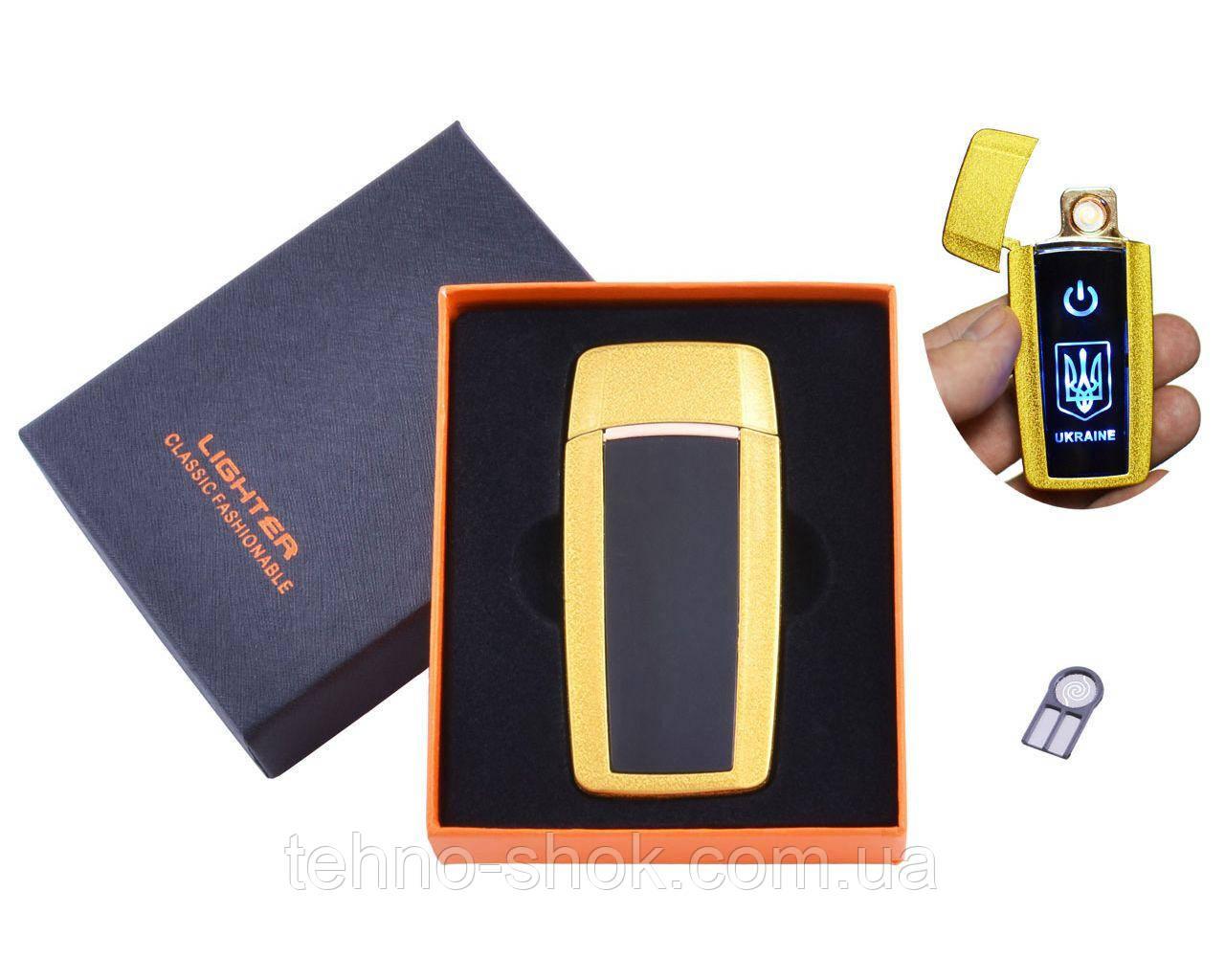 USB зажигалка в подарочной упаковке Украина (Спираль накаливания) HL-56 Gold