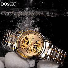 Мужские часы Bosck Механические с автоподзаводом, водонепроницаемые Gold