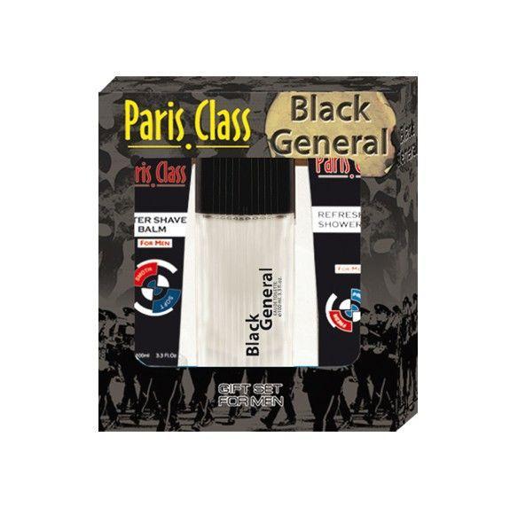 Мужской набор Black General туалетная вода + гель д/душа + бальзам п/бритья, Paris Class Aroma Perfume