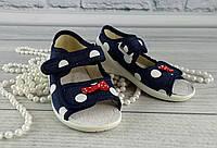 Текстильная обувь для девочек. Босоножки Ева Горох Синий Waldi Украина