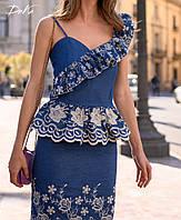 Красивый  Костюм: юбка с блузкой   42- 44 46-48   джинс прошва  Цвет  на фото, фото 1