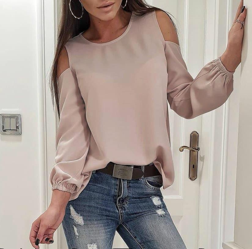 653c9d3b680 Шелковая блуза с вырезами на плечах - RUSH STORE интернет-магазин женской  одежды в Николаеве