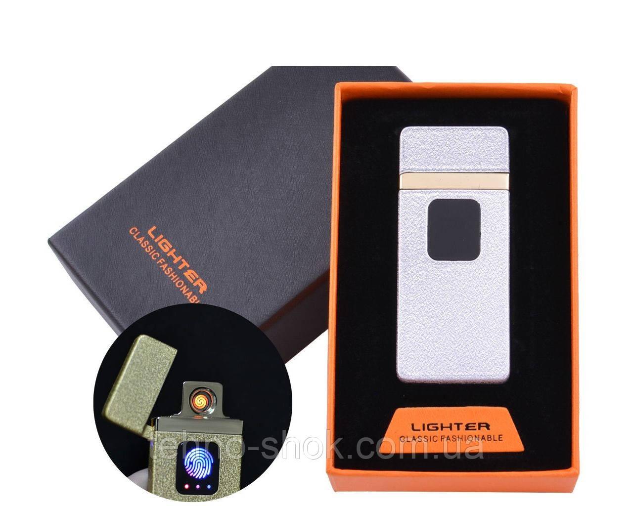 USB зажигалка в подарочной упаковке Lighter (Спираль накаливания) HL-7 White