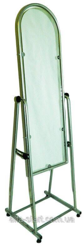 Торговое серое напольное зеркало ширина 35см в металлической рамке  на ножках