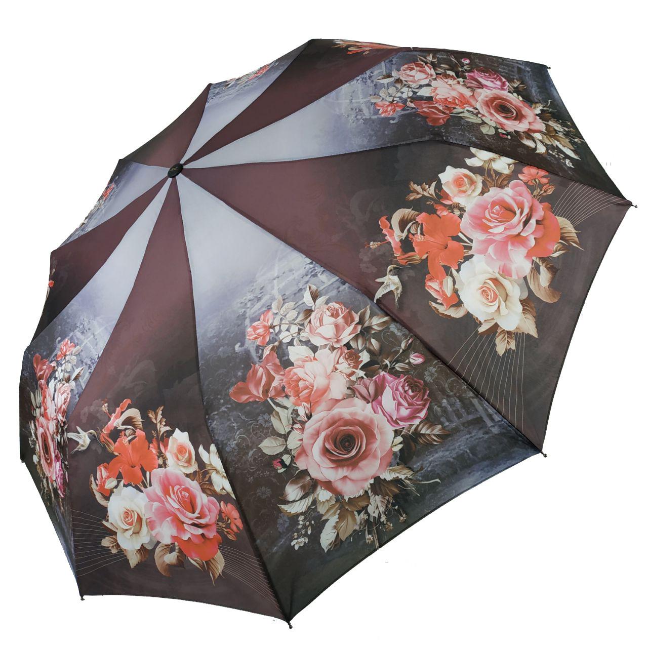 Жіночий напівавтомат зонт Susino, квітковий принт, 43006-4