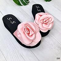 Шлепанцы Rose на платформе розовые. Шлепанцы цветок, фото 1