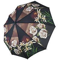 """Женский зонт-полуавтомат """"S&L"""" с белыми розами, 43006-8, фото 1"""
