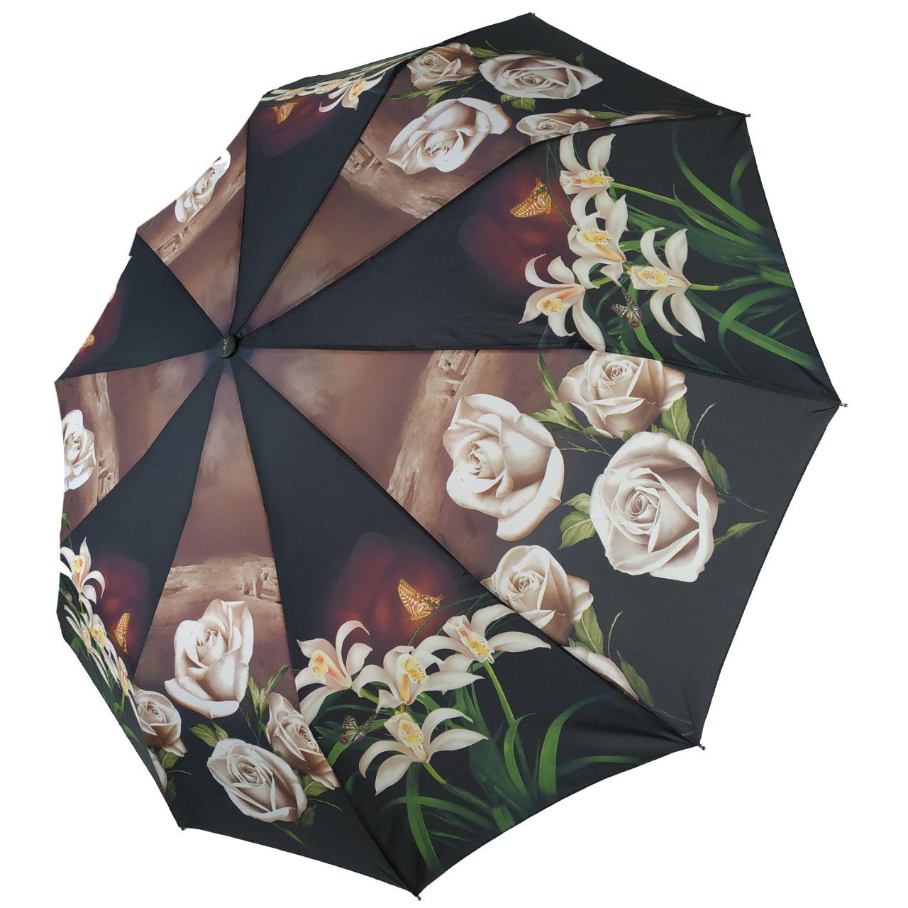 "Женский зонт-полуавтомат ""S&L"" с белыми розами, 43006-8"