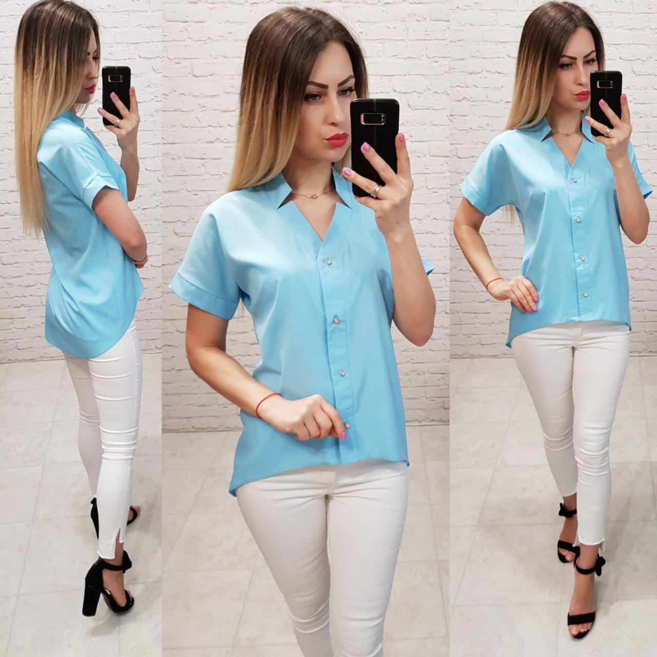 Блузка с коротким рукавом, арт. 160, цвет, голубой