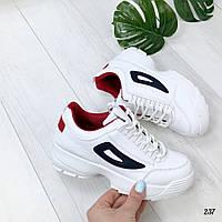 Кроссовки Fila белые с синим. Аналог, фото 1