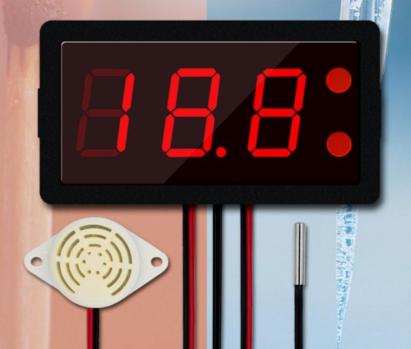 Термометр электронный XH-B330 12-24V ,от -50 до 110 со звуковой сигнализацией(красные цифры)