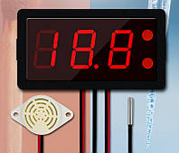 Термометр электронный XH-B330 12-24V ,от -40 до 220 со звуковой сигнализацией(красные цифры), фото 1
