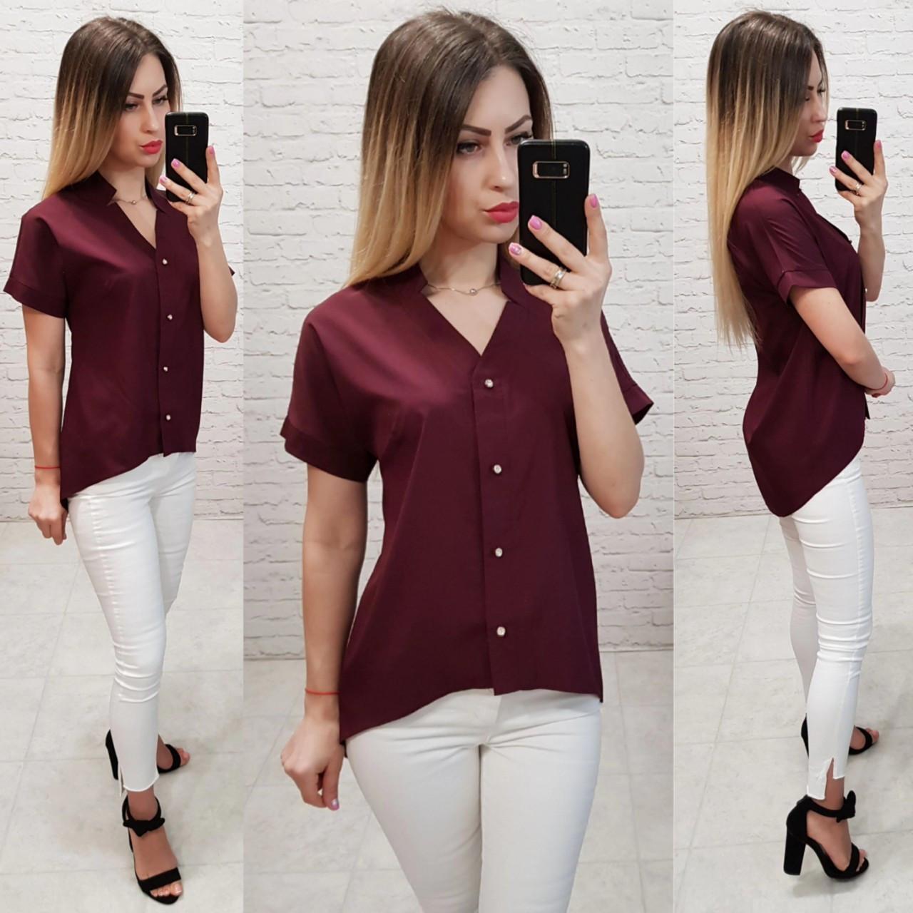 Блузка с коротким рукавом, арт. 160, цвет, бордовый